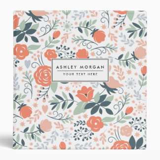Beautiful Floral Pattern Girly Vinyl Binder