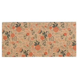 Beautiful Floral Pattern Girly Wood USB 2.0 Flash Drive
