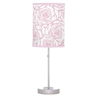 beautiful, floral.pink,white,peonies,girly,feminin table lamp