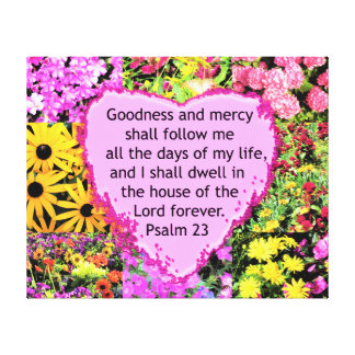 BEAUTIFUL FLORAL PSALM 23 DESIGN CANVAS PRINT
