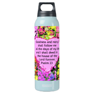 BEAUTIFUL FLORAL PSALM 23 DESIGN INSULATED WATER BOTTLE