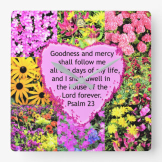 BEAUTIFUL FLORAL PSALM 23 DESIGN SQUARE WALL CLOCK