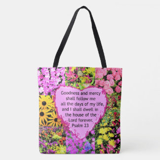 BEAUTIFUL FLORAL PSALM 23 DESIGN TOTE BAG
