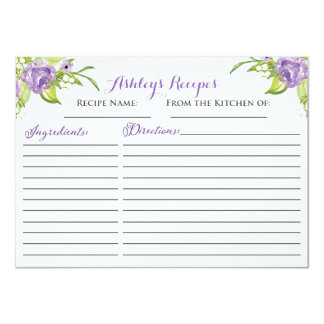 Beautiful Floral Recipe cards