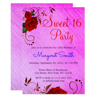 Beautiful Floral Red Rose Sweet 16 Invite