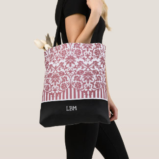 Beautiful Floral Rose Damask and Stripes Tote Bag
