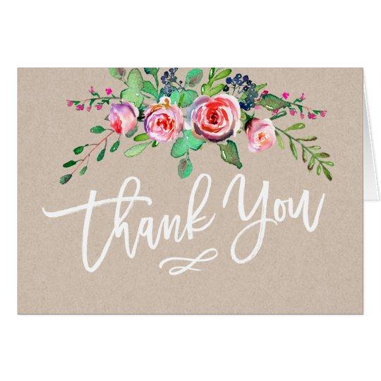 Beautiful Floral Rustic Kraft Paper Thank You Card