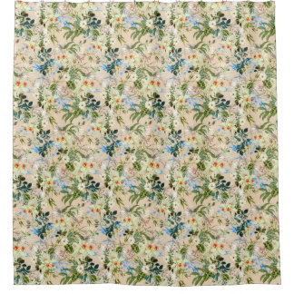 Beautiful Floral Textile Blue Rose and White Lilli