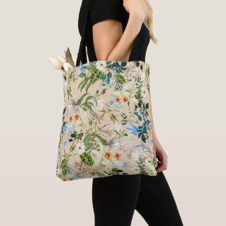Beautiful Floral Textile Blue & White Flowers Bag