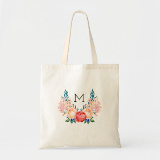 Beautiful Floral Tote Bag - Monogram Initial