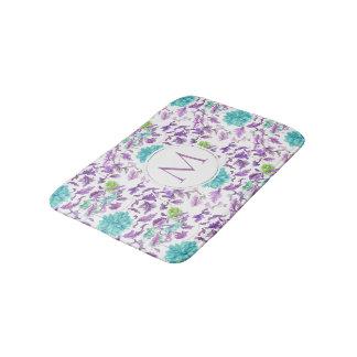 Beautiful Floral Turquoise Violet Pattern Monogram Bath Mat