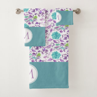 Beautiful Floral Turquoise Violet Pattern Monogram Bath Towel Set