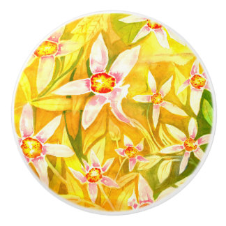 Beautiful Floral Watercolour Ceramic Door Knob