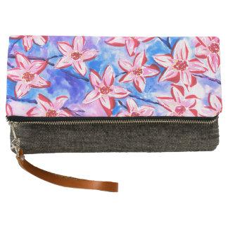 Beautiful Floral Watercolour Clutch Bag