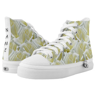 beautiful floral white roses photograph design high tops