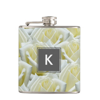 beautiful floral white roses photograph design hip flask