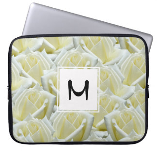 beautiful floral white roses photograph design laptop sleeve