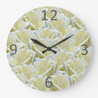 beautiful floral white roses photograph design large clock