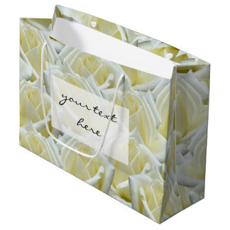 beautiful floral white roses photograph design large gift bag