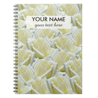 beautiful floral white roses photograph design notebook