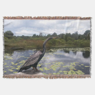 Beautiful Florida Snakebird in Nature Picture Throw Blanket