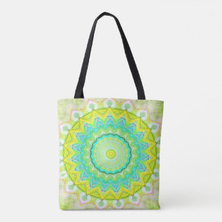 Beautiful Flourescent Pastel Vibrant Mandala Tote Bag