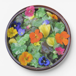Beautiful Flower Salad Paper Plate