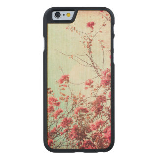 Beautiful flowers in retro style carved maple iPhone 6 case