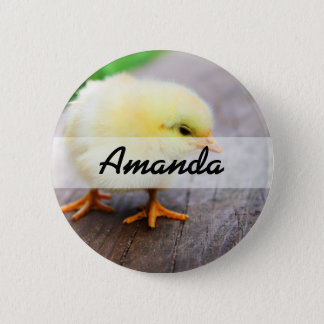 Beautiful fluffy Yellow Chicken 2 Inch Round Button