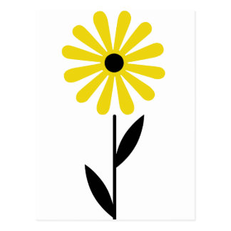 Beautiful Folk Art Retro Yellow Flower Postcard