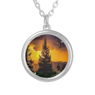 Beautiful Forest Landscape with Eagle Flying, Deer Silver Plated Necklace