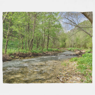 Beautiful Forest Stream Picture Fleece Blanket