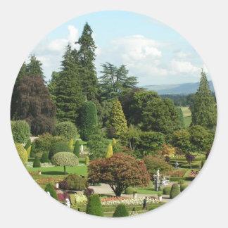 Beautiful formal gardens Drummond Castle Round Sticker