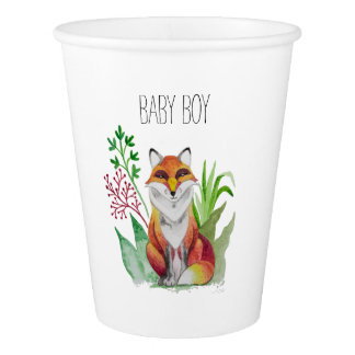 Beautiful Fox card for Baby Shower Paper Cup