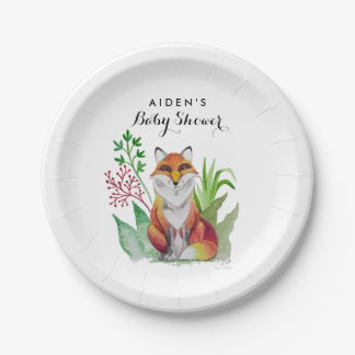 Beautiful Fox card for Baby Shower Paper Plate