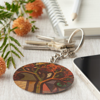 Beautiful Fractal Collage of an Origami Autumn Basic Round Button Keychain