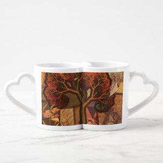 Beautiful Fractal Collage of an Origami Autumn Coffee Mug Set