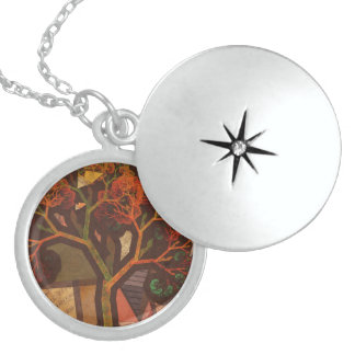 Beautiful Fractal Collage of an Origami Autumn Locket Necklace