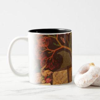 Beautiful Fractal Collage of an Origami Autumn Two-Tone Coffee Mug