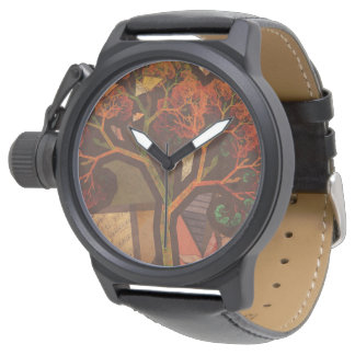 Beautiful Fractal Collage of an Origami Autumn Watch