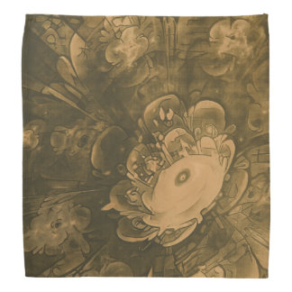 Beautiful Fractal Daisy Flower in Tan Earth Tones Bandana