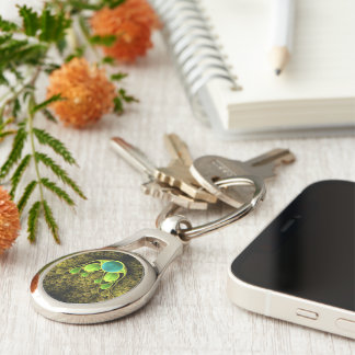 Beautiful Fractal Feathers of the Quetzal Bird Keychain