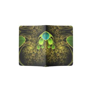 Beautiful Fractal Feathers of the Quetzal Bird Passport Holder