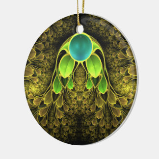Beautiful Fractal Feathers of the Quetzal Bird Round Ceramic Ornament