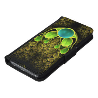 Beautiful Fractal Feathers of the Quetzal Bird Samsung Galaxy S6 Wallet Case