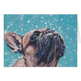 Beautiful French Bulldog Fine Art Dog Painting Card