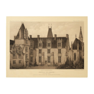 Beautiful French Chateau in Sepia Tones Wood Print