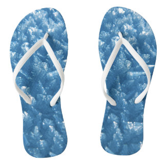 beautiful fresh blue ice crystals photograph flip flops