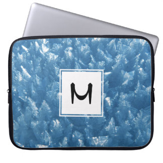 beautiful fresh blue ice crystals photograph laptop sleeve