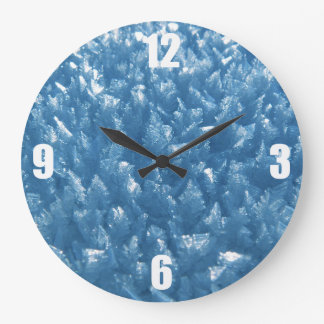 beautiful fresh blue ice crystals photograph large clock
